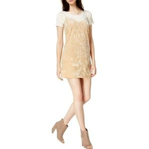 NWT Kensie Beige Velvet Short Sleeves Slip Dress